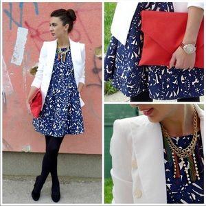 Zara Navy Blue Floral Tulip Dress